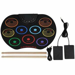Pad de batterie électronique Drum Dual Power Options 9 pads de batterie colorés Portable coloré roulé à la main Instrument de percussion pour débutant adulte 2 baguettes(Coloré)