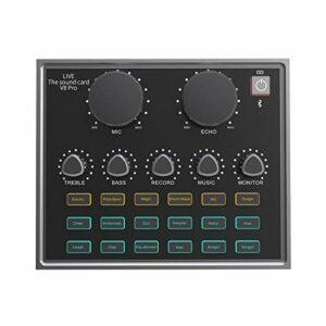 POHOVE Mini tableau de mixage pour le streaming en direct avec Bluetooth, changeur de voix avec effets, mixeur audio pour écouter de la musique, chanter pour téléphone, ordinateur