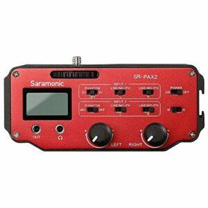 Préampli DSLR, mixeur audio, Saramonic adaptateur pour microphone avec alimentation fantôme, double XLR, 6,3 mm, entrées 3,5 mm + sortie 3,5 mm pour appareil photo reflex numérique, miroir,caméscope