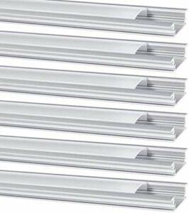 Profilé Aluminium LED, Jirvyuk de 6 x 1 Mètre YW- Shape Profilés en aluminium pour LED Bande Lumières Avec Blanc Laiteux Couvercle, Embouts et Clips de Montage en Métal