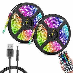 Ruban led 20M multicolore 3528 RGB 54 LEDs par mètre Bande de lumières avec 44 Touches Télécommande et Câble USB Décor pour maison Soirée Bar Noël Fête (20m)