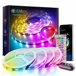 Ruban LED Bleutooth,24M bande led chambre,Ruban à LED RGB Multicolores Améliorée lumiere led avec Télécommande,LED Ruban Décoration d'Armoire pour Maison Chambre Cuisine [APP + Télé commande]