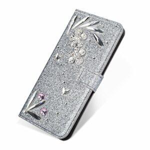 SevenPanda PU Housse pour Samsung S7, Luxury Bling Diamant Glitter Cristal Rhinstone Floral 3D Ressort Bricolage Serrure Magnétique Gamme pour Protection pour Samsung Galaxy S7 – Argent