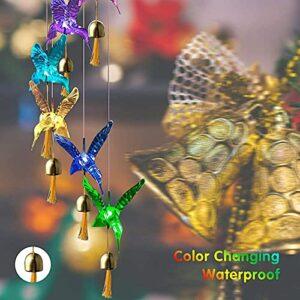 Solar Wind Chriaux Jardin extérieur Hummingbird Lights Home Mobile Suspending Bells Décor Chime, pour la maison de jardin Décoration de jardin, cadeaux pour maman, femme, grand-mère