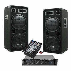 SONO 2480W avec 2 ENCEINTES DOUBLE BOOMER + 1 AMPLI SONO + câble hp et câble PC idéal sonorisation salle de mariage anniversaire bar club disco