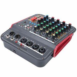 Table de Mixage Audio,Table de Mixage Audio 4 Canaux,Entrée XLR et Entrée de Ligne D'équilibre Table de Mixage Dj,Table de Mixage Stéréo Professionnelle avec Système de Console pour DJ,Kj,école(noir)