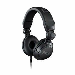 Technics Casque DJ professionnel avec bobine vocale CCAW de 40 mm, boîtier pivotant à 270 ° et cordon amovible de verrouillage, léger et pliable – EAH-DJ1200 (Noir)