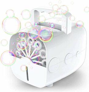 Theefun Machine à Bulles Automatique portative pour Enfants, souffleuse de Bulles à Piles ou à Brancher