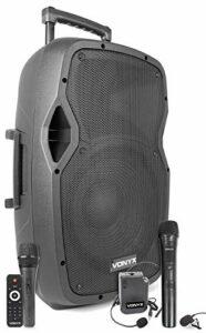 Vonyx AP1200PA Enceinte Sono Portable avec microphones sans fil, filaire et casque – 600W Max, Bluetooth, USB/SD/MP3, Boomer 12″, Avec poignée télescopique et roulettes pour les déplacements