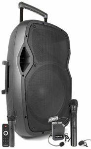 Vonyx AP1500PA Enceinte Sono Portable avec microphones sans fil, filaire et casque – 800W Max, Bluetooth, USB/SD/MP3, Boomer 15″, Avec poignée télescopique et roulettes pour les déplacements