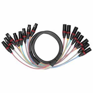 Wosune Ligne Audio 8 canaux, câble Audio 1,5 m Boîtier en PVC Tête symétrique XLR 8 canaux pour la Maison pour l'industrie