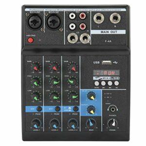 Wosune Table de mixage, Console de mixage Plug-and-Play pour la Production Musicale à Domicile pour K Song Cover pour Microphones à(European regulations)
