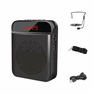 ZITFRI Amplificateur Vocal Portable Bluetooth Rechargeable 3000 mAh avec Microphone Casque Ceinture Haut-parleur Portable USB Carte TF Amplificateur de Voix pour Enseignants Guides Touristiques