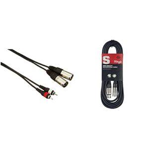 Accu Cable AC-2XM-2RM/5 Câble 2 x XLR mâle/2 x RCA 5 m & Stagg 6 m Câble Microphone XLR – XLR de Haute Qualité – Noir