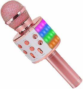 ASENTER Microphone Karaoké Sans Fil, Micro Karaoké Bluetooth Portable avec LED Lumière Disco pour Enfants/Adultes Chanter, pour Fête Chanter Idée Cadeau Enfants,Compatible avec Android/IOS (Or rose)