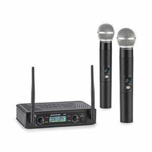 AUNA Pro UHF200F – Kit Micro sans Fil UHF 2 canaux, Set: récepteur + 2 x micros Portables sans Fil: portée 40 m, fréquence Fixe, écran, 2 x Sorties XLR / 1 x Sortie Jack – Noir