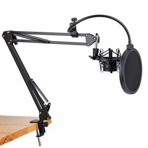 Bayda NB-35 Support de microphone avec bras ciseaux et pince de montage pour table et filtre NW pare-vent et kit de montage en métal