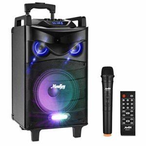 Bluetooth Sonorisation Portable Moukey Karaoké Speaker Audio Haut-parleurs 140 W Enceinte Sono PA système avec lumières DJ VHF Micros Radio MP3/USB/TF/FM pour la fête de Noël 10″