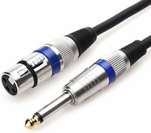 Câble Femelle Xlr à 6,35mm 1/4 Inch TS Fiche Jack Mono,Câble Audio AsyméTrique à 3 Pin,Adaptateur Xlr Microphone Câble d'Ampli, Haut-Parleur(3m)