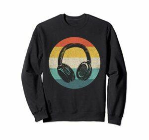 Casque rétro DJ amateur de musique Sweatshirt