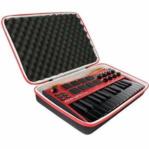 co2CREA Dur Étui de Voyage Rigide Housse Cas pour AKAI Professional MPK Mini MK3 Clavier Maître USB MIDI 25 Touches(boîte seule) (Noir + rouge)