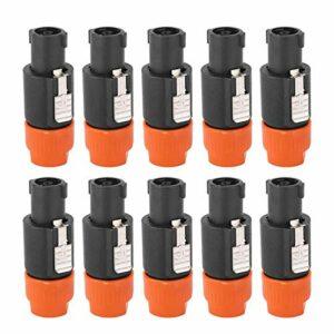 Connecteur de câble Speakon, connecteur de haut-parleur audio, électroménagers électroniques de placage au nickel et cuivre stables largement utilisés Produits électroniques pour(orange)