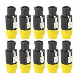 Connecteur de câble Speakon, connecteur de haut-parleur audio, électroménagers électroniques de placage au nickel et cuivre stables largement utilisés Produits électroniques pour(yellow)