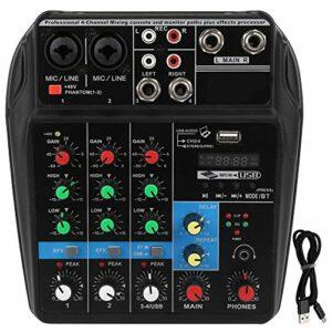 Console de mixage audio professionnelle à 4 canaux pour bandes d'enregistrement d'ordinateur USB Home