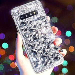 Coque Compatible avec Samsung Galaxy S10,QPOLLY Diamant Strass Brillante Glitter de Housse Étui de Protection PC Hard Case Silicone TPU Bumper avec Absorption de Choc pour Galaxy S10,Argent