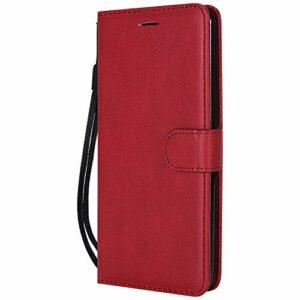 Coque pour LG Stylus 2/Stylus 2 Plus Protection Housse en Cuir PU Pochette,[Emplacements Cartes],[Fonction Support],[Languette Magnétique] pour LG Stylus2 / K520 – DEKT051104 Rouge