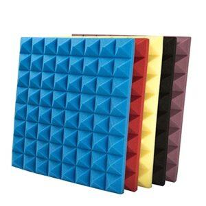 GAOAIHONG Lot de 10 Isolation en Mousse Acoustic Haute Densité Studio Panneaux Insonorisants Pyramide Eponge Insonorisée 50x50x5cm(Color:Rouge)