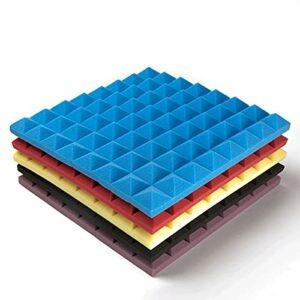 GAOAIHONG Mousse Acoustique Haute Densité Panneaux Insonorisants Pyramide Eponge Insonorisée pour Home Studio 50x50x5cm 10pcs(Color:Noir)