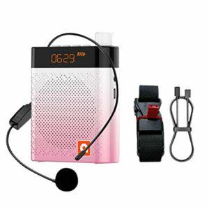 Groust Amplificateur vocal rechargeable Bluetooth avec microphone filaire 5 W 2000 mAh Prise en charge pour les entraîneurs, enseignants, guide de voyage