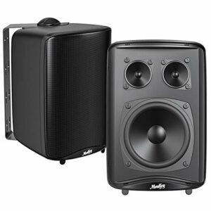 Haut-Parleurs Extérieurs Moukey Enceinte pour Audio 3 Voies Résistants Aux Intempéries ABS stéréo, Haut-Parleurs d'Extérieurs pour Jardin, Patio, Restaurant (Paire) -M20-2