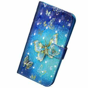 Herbests Compatible avec Samsung Galaxy A71 – Étui de protection en cuir – Bling – Motif 3D multicolore à paillettes – Étui à rabat en cuir – Style portefeuille – Papillon doré