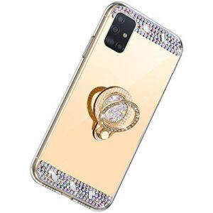 Herbests Compatible m Samsung Galaxy A51 Doré à paillettes