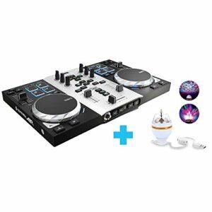 Hercules – DJControl AIR Party Pack, contrôleur DJ USB avec sorties audio, 8 pads et commande AIR + LED Party Light USB