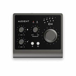 Interface audio Audient iD4 MKII, préampli micro pour console de classe A (USB-C haut débit, fonction Monitor Mix et Monitor Panning, 2 sorties casque, compatible Mac/PC/iOS), noir