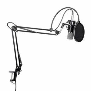 JYDQB Câble de Support de Microphone à condensateur et Bras de Ciseaux + Pince de Montage et Filtre Anti-Pop et Alimentation fantôme 48 V