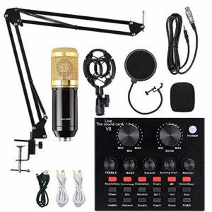 Kit microphone à condensateur V8 avec carte son live BM-800, bras de suspension réglable, support antichocs en métal et filtre anti-pop double couche pour studio d'enregistrement (or)