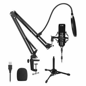 Kit Microphone USB, Microphone à condensateur USB 192KHz/24Bit Podcast Studio avec support bras pliable et d'autres