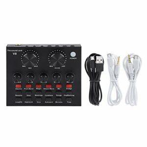 Leylor Interfaces Audio-mélangeur Audio USB Externe Microphone Casque Ordinateur Portable PC Carte Son en Direct karaoké