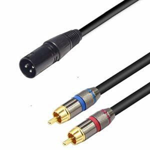 LoongGate 1 XLR à 2 RCA mâle fiche stéréo Y Splitter, câble XLR adaptateur audio cable connecteur 1.5 m (XLR mâle)