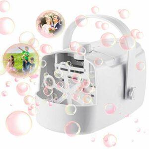 Machine à bulles portable automatique pour l'intérieur et l'extérieur – Double usage – Convient pour les mariages, les fêtes d'anniversaire, les spectacles de scène (blanc)