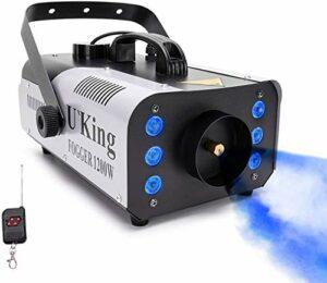 Machine à fumée Morfit – 1200 W – LED – Avec 5600 CFM – 6 niveaux de lumière LED avec protection de sécurité – Télécommande sans fil pour les vacances, les fêtes, les mariages, Noël, Halloween