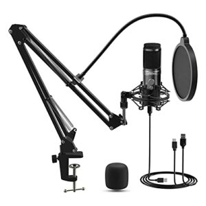 Microphone à Condensateur, LIFEBEE Micro Cardioïde USB Professionnel Support Antichoc pour MAC Windows Android iOS, pour Enregistrement, Podcasting, Voix Off, Streaming, Home-Studio, YouTubeo, YouTube