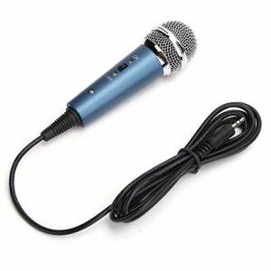 Microphone Dynamique Filaire, Microphone Portatif Cardioïde Filaire en Métal, Son HiFi, Microphone Audio 3,5 Mm pour Chanter, Machine de Karaoké, Voix, Fête, Scène, Podcast(Bleu)