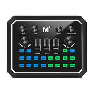 Muslady Live Sound Card Carte audio BT Accompagnement Sound Adapter Multiple Sound Effect for Live Streaming Recording Gaming Sing on Computer Smartphone