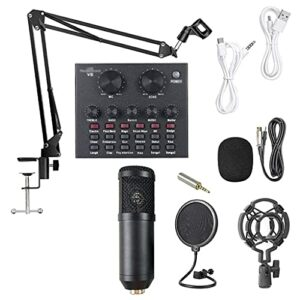 Nouvel Ensemble De Microphones De Carte Son en Direct Changeur De Voix Interface Audio USB Multifonctionnelle Microphone À Volume Intelligent pour Diffusion en Direct (Couleur: Style Deux) Microphone