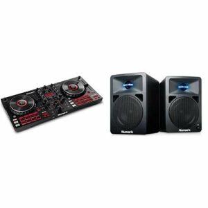 Numark Mixtrack Platinum FX & N-Wave 360 – Contrôleur DJ pour Serato DJ avec 4 Decks, Table de Mixage DJ, Interface Audio Intégrée & Enceintes monitoring DJ 60 W à Éclairage LED, Bouton de Volume
